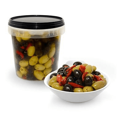 Mixed Green & Black Pitted Olives with Red Pepper Strips